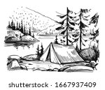 tourist tent in the mountains ... | Shutterstock .eps vector #1667937409