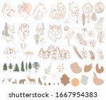 set of one line style... | Shutterstock .eps vector #1667954383