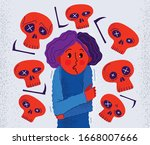 thanatophobia fear of death... | Shutterstock .eps vector #1668007666