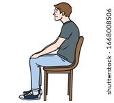 Young Man Sitting On A Chair...
