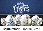 modern easter folk header. eggs ... | Shutterstock .eps vector #1668023890