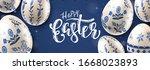 modern easter folk header. eggs ... | Shutterstock .eps vector #1668023893