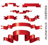 set of curled red ribbons ... | Shutterstock .eps vector #16680466