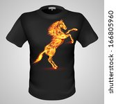 Raster version. Black male t-shirt with fiery horse print on grey background. - stock photo
