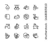 hygiene line icon set  vector... | Shutterstock .eps vector #1668085810