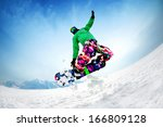 snowboarder jumping from the... | Shutterstock . vector #166809128