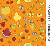seamless doodle pattern of... | Shutterstock .eps vector #166809710