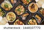 Variety Of Thai Food On Wooden...