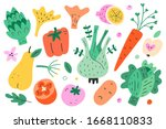 cute vegetables and fruit... | Shutterstock .eps vector #1668110833