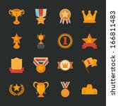 prizes   awards icons   flat...   Shutterstock .eps vector #166811483