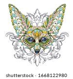 patterned head of fennec with... | Shutterstock .eps vector #1668122980