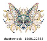 patterned head of fennec with... | Shutterstock .eps vector #1668122983