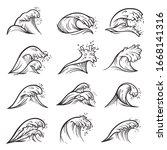 Sea Wave Crests Set. Collection ...