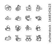 hygiene thin line icon set 2 ... | Shutterstock .eps vector #1668143623