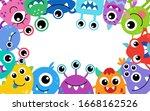 cute cartoon monsters frame.... | Shutterstock .eps vector #1668162526