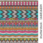 tribal vector pattern. seamless ... | Shutterstock .eps vector #166816604