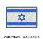 flag of israel patch. vector... | Shutterstock .eps vector #1668166816