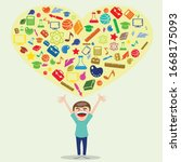 knowledge is the heart of... | Shutterstock .eps vector #1668175093