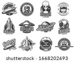vintage monochrome space... | Shutterstock . vector #1668202693