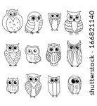 Stock vector cartoon owls and owlets birds isolated on white background 166821140
