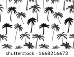 halftone effect palm trees... | Shutterstock . vector #1668216673