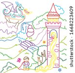coloring book of cute princess...   Shutterstock .eps vector #1668223609