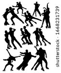 Set Of Silhouettes Of Figure...