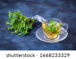 Green Tea With Mint In A...