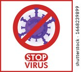 forbidden sign with virus... | Shutterstock .eps vector #1668239899