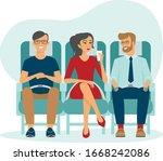 passengers on airplane board....   Shutterstock .eps vector #1668242086