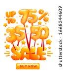 flying glossy yellow balloons...   Shutterstock .eps vector #1668244609