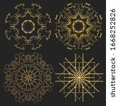 ornament gold card with mandala.... | Shutterstock . vector #1668252826