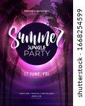 dark purple neon tropical... | Shutterstock .eps vector #1668254599