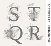 letters s t q r  flowers... | Shutterstock .eps vector #1668261106