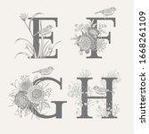 letters e f g h  flowers... | Shutterstock .eps vector #1668261109
