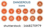 editable 14 dangerous icons for ... | Shutterstock .eps vector #1668270979