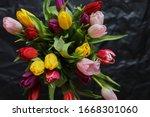 Multi Colored Tulips. Bouquet...