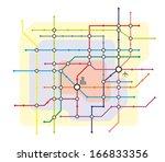 fictive network map for urban... | Shutterstock . vector #166833356