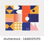 mid century geometric abstract... | Shutterstock .eps vector #1668335293