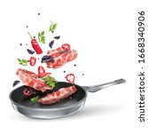 veal steaks with red chili ...   Shutterstock .eps vector #1668340906