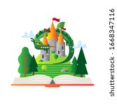open book with fairytale story. ... | Shutterstock .eps vector #1668347116