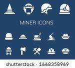 miner icon set. 14 filled miner ... | Shutterstock .eps vector #1668358969