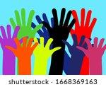 hands of people of different... | Shutterstock .eps vector #1668369163