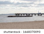 The pier stretching out into the York River in Yorktown, Virginia.