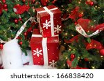 boxes of presents under the... | Shutterstock . vector #166838420