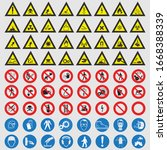 traffic signs collection... | Shutterstock .eps vector #1668388339