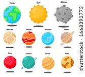 solar system  sun  earth  moon  ...   Shutterstock .eps vector #1668392773