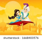 vector arabian fairy tale of... | Shutterstock .eps vector #1668403576