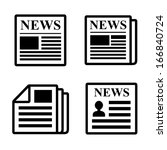 newspaper icons set. | Shutterstock .eps vector #166840724