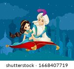 arabian fairy tale of prince...   Shutterstock .eps vector #1668407719